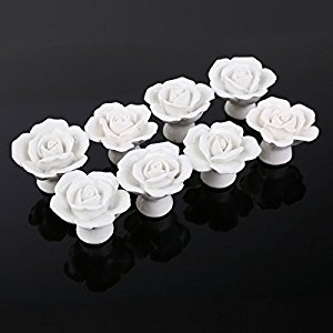 Dproptel 8PCS Ceramic Vintage Floral Rose Door Knobs Handle Drawer ...